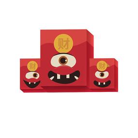 原创元素立体发财红色红包