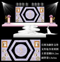 紫色大理石几何婚礼背景板