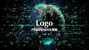 PR科技地球logo片头模板