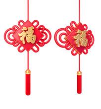 春节元素红色中国结福字
