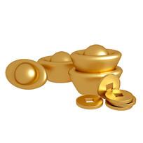 春节元素元宝金币