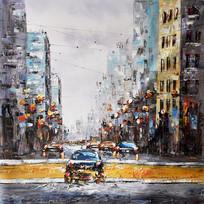 纯手绘街景街道风景油画无框画