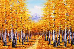 纯手绘金色秋叶森林风景油画无框画