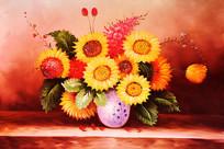 纯手绘鲜花花开富贵油画无框画