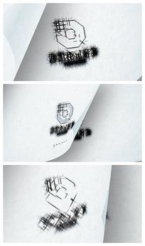 简洁翻页logo片头模板
