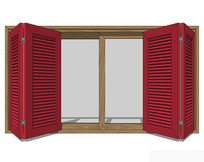 简欧红色开窗窗户