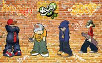 街头少年涂鸦砖墙电视背景墙