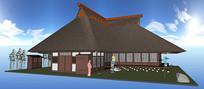 日式亭阁建筑SU模型