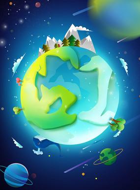 原创元素六一儿童节地球太空星球雪山