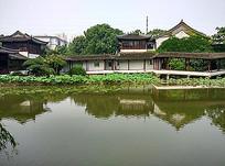 中式建筑长廊景观庭院湖泊