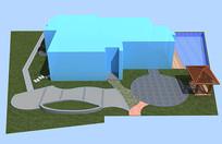 庭院CAD方案彩平图分析