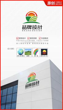朝阳初升田野logo设计商标设计