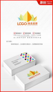 抽象立体艺术皇冠logo设计标志设计