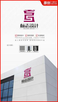 古典中国风图案龙头logo设计商标