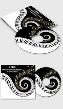 黑白钢琴五线谱光盘封面设计模板
