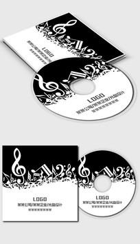 黑白音乐五线谱光盘封面设计模板