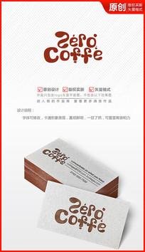 卡通英文咖啡coffe字体logo设计