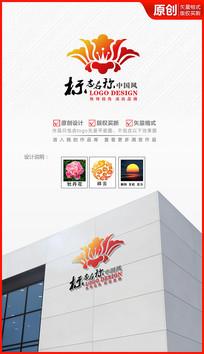 盛开牡丹花logo设计商标设计标志