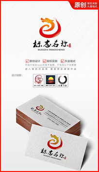 书法飞白中国龙头logo设计商标设计