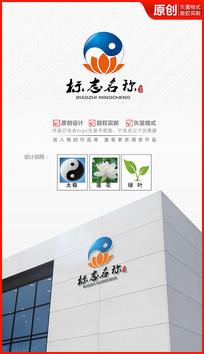 太极莲花中国风logo设计商标标志