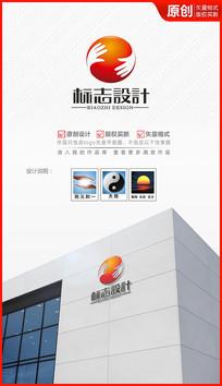 太极双手logo设计商标标志设计