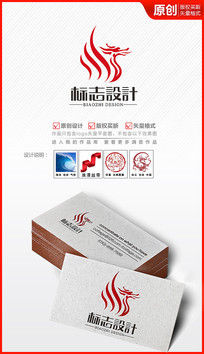 腾空飞龙logo设计商标标志设计