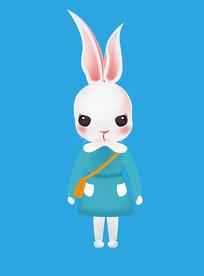 原创插画六一儿童节玩具玩偶兔子