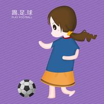 原创插画踢足球的小女孩