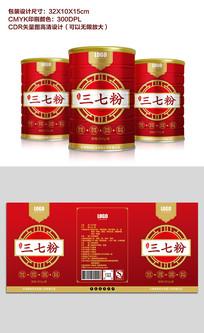 原创红色简约风三七粉罐装包装设计