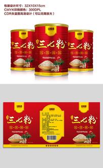 原创金红色简约风三七粉罐装包装设计