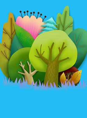 原创元素剪纸风格树林花朵