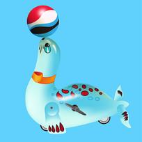 原创元素六一儿童节机械玩具海豹