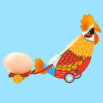 原创元素六一儿童节机械玩具鸡