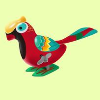 原创元素六一儿童节机械玩具鸟鹦鹉