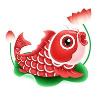 春节元素卡通锦鲤荷花元素