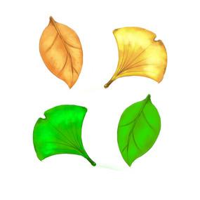 树叶叶子插画元素