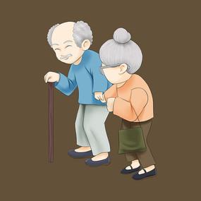 重阳节老人手绘元素