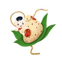 原创元素端午节手绘卡通粽子娃娃
