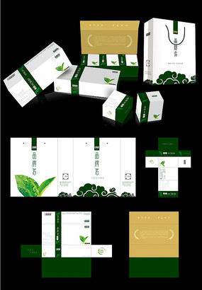 高档绿茶叶绿简版包装组合设计
