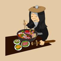 卡通吃火锅原创手绘插画元素