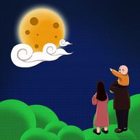 原创中秋赏月手绘插画