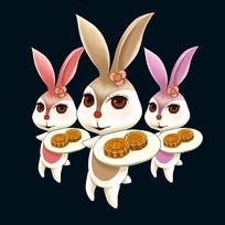 中秋节玉兔月饼手绘插画元素