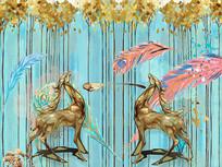 北欧抽象羽毛麋鹿背景墙