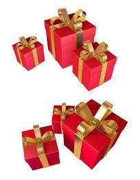 春节红色礼盒礼物元素