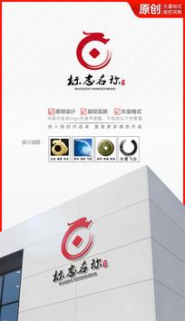 飞白泼墨玉龙铜钱logo设计商标设计