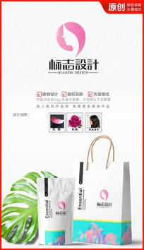 粉色美人logo设计标志商标设计