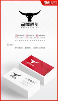 黑牛头牛角logo设计商标标志设计