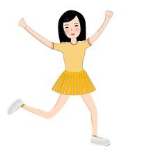开心的女孩插画