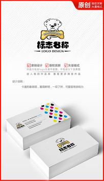 卡通小狗斑点狗logo设计商标标志设计