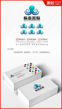 卡通章鱼吉祥物logo设计商标标志